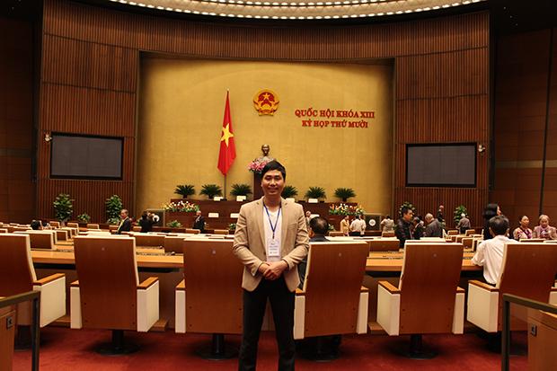 Anh Nguyễn Bá Toàn tại phòng Diên Hồng - Tòa nhà Quốc Hội